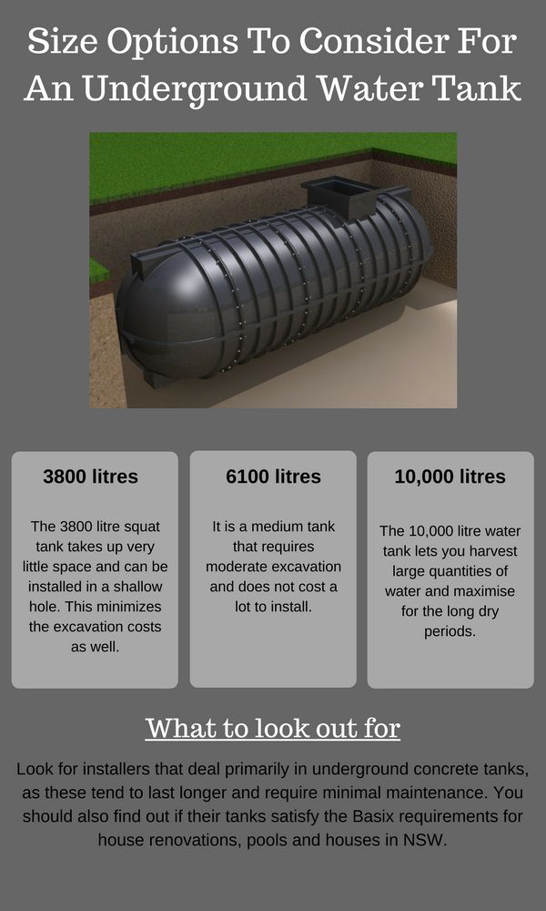 Size Options To Consider For An Underground Rain Water Tank